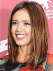 Jessica Alba Human Hair Medium Straight Charming Lace Front Wig