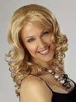 Light Length Shoulder Blonde Synthetic Wavy Lace Wig For Woman