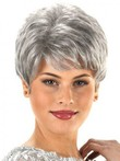 Short Layer Stylish Capless Synthetic Gray Wig