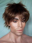 Straight Lace Front Short Natural Mens Wig