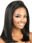 Remy Human Hair Straight Front African American Wig