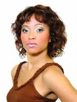 Wavy Black Medium African American Wig For Synthetic Women