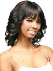 Mid-capless Flipped Wavy Length African American Wig