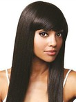 Silky Remy Human Hair Straight African American Wig