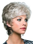 Capless Short Synthetic Wavy Gray Wig