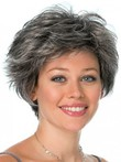 Black Conservative Look Capless Gray Wig