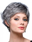 Wavy Synthetic Short Back Gray Wig