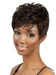 Wavy Short Side Bang African African American Wig