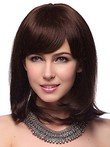 Capless Medium Stunning Straight Human Hair Wig