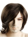 Medium Flexibility Synthetic Capless Brown Mens Wig