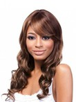 Long Good Human Hair Capless African American Wig With Bangs