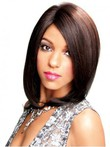 Lace Front Medium Synthetic Straight African American Wig