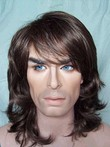 Synthetic Wavy Medium Capless Mens Wig