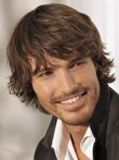Cool Brown Short Wavy Hair Men Wig
