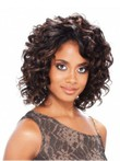 Lace Front Human Hair Short African American Wig Without Bangs