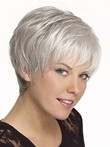 Short Straight Synthetic Gray Wig