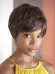 Tousled Capless Short African American Wig With Side Fringe
