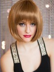 Women Auburn Stylish Soft Human Hair Wig