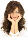 Capless Brown Romantic Human Hair Wig