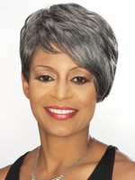 Fringe Short Side Swept Gray Wig