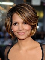 Wavy Halle Berry's Side Parting Brown Celebrity Wig