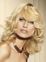 Fabulous Human Hair Medium Wavy Length Capless Wig