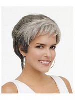 Wavy Rounded Fringe Synthetic Gray Wig