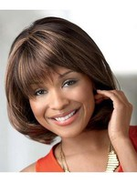 Sleek Red Layelength Mid-straight African American Wig