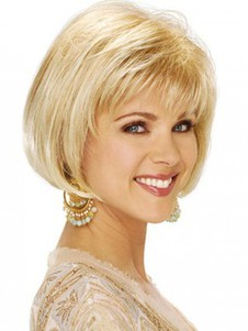 Clean With Soft Bangs Bob Style Synthetic Wig
