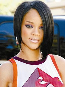 Rihanna Romantic Straight Short Human Hair Full Lace Wig