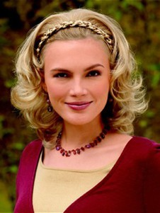 Length Synthetic Medium Braided Headband Wig