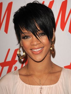 Rihannas Hairstyle Short Celebrity Wig With Bangs