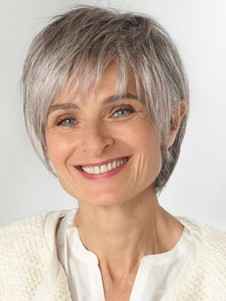 Short Natural Lace Front Grey Synthetic Wig