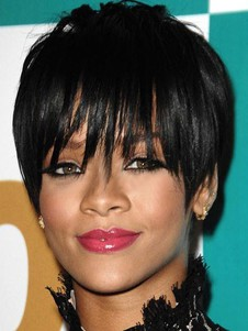 Rihanna Straight Hairstyle Natural Capless Short Celebrity Wig