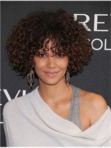Halle Berry Curly Human Hair Romantic Full Lace Wig