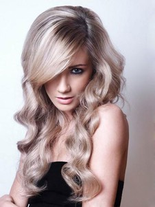 Synthetic Wavy Lace Elegant Front With Mono Wig For Woman
