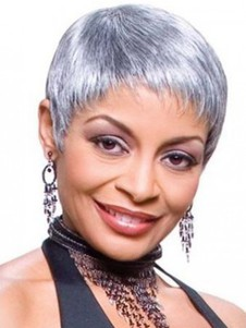 Super Synthetic Short Silver Wig