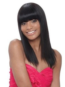 Synthetic Shimmering Straight Capless Wig
