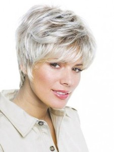 Short Layestraight Red Lace Front Gray Wig