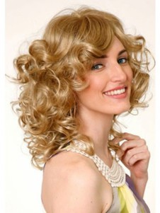 Fashionable Medium Curly Monofilament Blonde Elegante Wig