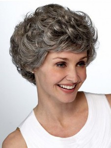 Lace Front Wavy Layers Short Gray Wig