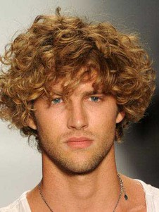 Human Hair Short Wavy Mens Wig