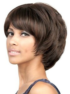 Length Side Swept Bang Chin Bob Style Layered Wigs