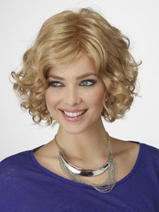 Chin Length Romantic Synthetic Wavy Bob Wig