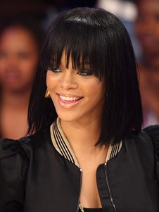 Dark Bob Style Rihanna Straight Black Celebrity Wig