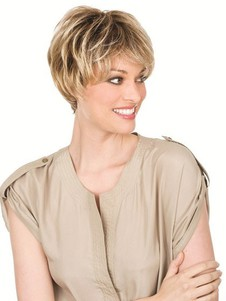 Human Hair Short Mono Lace Wig For Woman