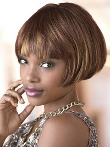 Capless Short Bob Straight Synthetic African American Wig