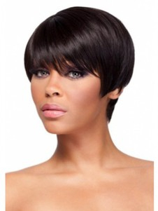 Boycuts Short Human Hair Straight African American Wig