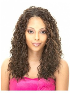 Capless Curly Human Hair Long African American Wig