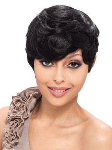Pretty Human Hair Capless Short Wavy Wig